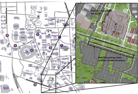 general map of LSU with Patrick F. Taylor located on it